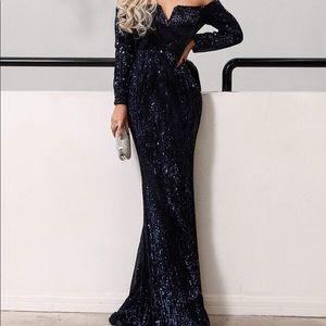 NYE Off Shoulder Sequin Dress